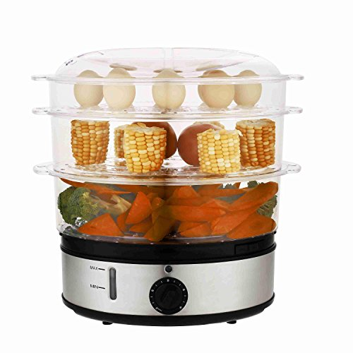 Ferty Healthy Stainless Steel 3 Tiers Electric Food Steamer Steam Cooker,large capacity Digital Food Steamer, dishwasher safe, Home Kitchen Favor(Clear Gray)