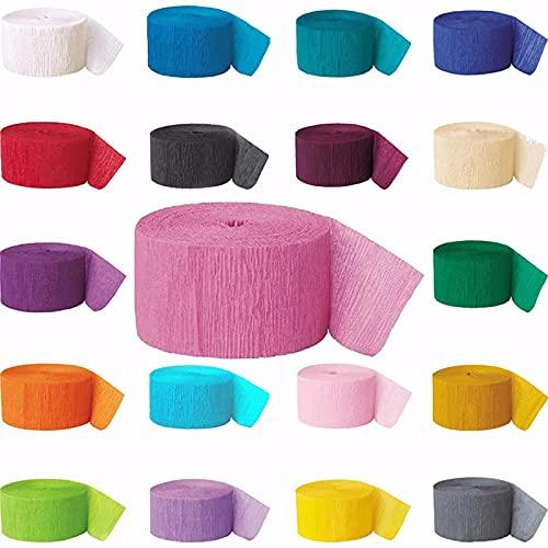 Chytaii - 24 rollos de papel crepé crepado, banderines de papel, multicolor, papel crepón decorativo para varias decoraciones de fiestas, cumpleaños, bodas, festivales, 4,5 cm x 25 m