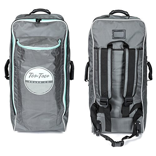 Ten Toes SUP Emporium Ten Toes Nomad Istand Up Paddle Board Roller Bag with Wheels, Graphite & Seafoam