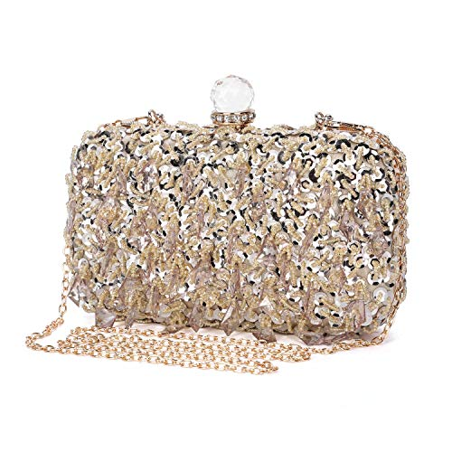UBORSE Women Rhinestone Wedding Clutch Bag Bling Sequin Evening Purse Vintage Crystal Beaded Cocktail Party Handbag Gold