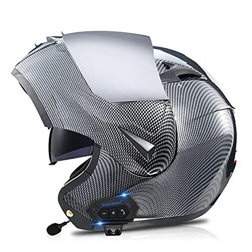 AI FAN Casco Moto Modular Bluetooth Integrado ,con Doble Visera/Anti Niebla Cascos de Motocicleta ECE/Dot Homologado Adultos Hombres Mujeres Helmet55-62CM