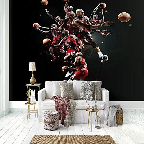 SUUKLI Muurschildering – 3D-print basketbalspeler behang muurschildering zelfklevende niet-geweven foto muurschildering…