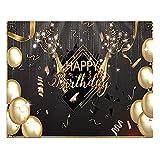 weituoli Pancarta de fondo de cumpleaños con purpurina negra dorada, fondo de fotografía para estudio fotográfico, decoración de fiesta de cumpleaños, extra grande, 220 x 150 cm