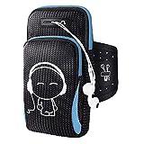 Brazalete deportivo veriya entrenamiento running ciclismo Jogging multifuncional bolsillos ajustable armbag soporte Carcasa con 2bolsillos para iPhone 6Plus Samsung 20cm smartphones, azul