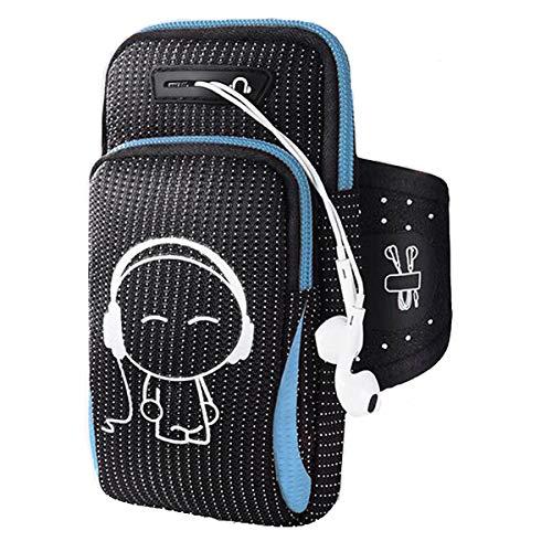 Veriya Brazalete deportivo para iPhone 11 11 Pro XR XS X 8 7 Samsung S9 S8 S7 Huawei P9 hasta 6.2 pulgadas, bolsa de gimnasio con auriculares, llavero y bolsillo para tarjetas, color azul