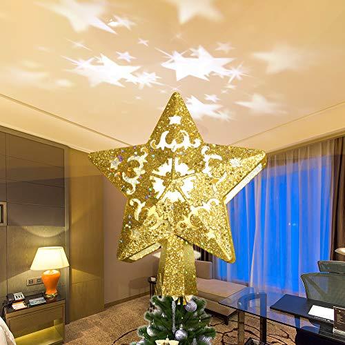 Weihnachtsbaumspitze Stern, Enow Star Baumspitze Weihnachtsdekoration, 3D hohler Glitzerstern-Nachtlicht-Projektor mit LED-Lichtern für Weihnachten/Urlaub/Winter/Party/Festival, Baumdekoration (Gold)