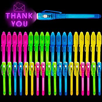 36 Pack Invisible Ink Pen,2021 Upgraded Spy Pen Invisible Ink Pen with UV Light Magic Marker for Secret Message Kids Halloween Christmas Party Favors Birthday Gifts for Boys Girls Goodies Bags Toy
