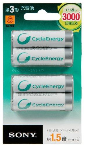 ソニー充電式ニッケル水素電池サイクルエナジーシルバーNH-AA-4BRA:単3形充電池4本パックNH-AA-4BRA