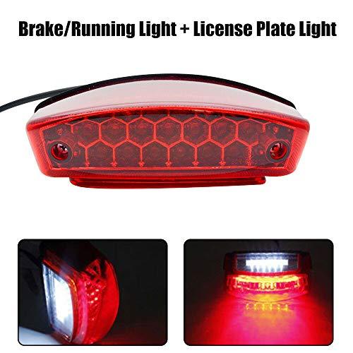 Feux de stop arrière DEL rouge pour moto, feu arrière de plaque d'immatriculation, feu arrière intégré