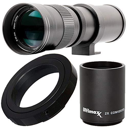 Ultimaxx 420-800mm (w/Converter 840-1600mm) f/8.3-16 HD Manual Telephoto Zoom T-Mount Lens Kit for Canon EOS 9000D 800D 760D 750D 700D 1300D 1200D T100, 4000D, 3000D, 2000D, 1500D DSLR Cameras