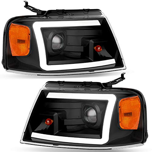OEDRO F150 Headlights Assembly Kit Compatible with 2004-2008 Ford F-150 Pickup Headlamps Black Housing LED Tube DRL Amber Reflector