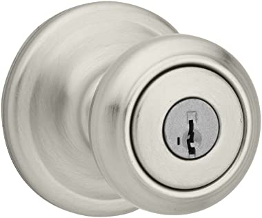 Kwikset Cameron Keyed Entry Door Knob with Microban Antimicrobial Protection featuring SmartKey Security in Satin Nickel