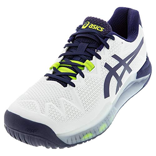 ASICS Men's Gel-Resolution 8 Tennis Shoes, 15M, White/Peacoat