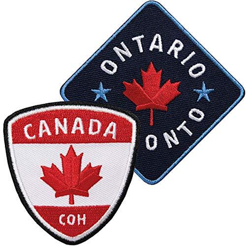2er-Set Kanada + Ontario Toronto Aufnäher gestickt / Canada Ahorn Flagge Flagg / Patches zum Aufnähen oder Aufbügeln auf Jacke Kleidung / Patch Aufbügler Flicken Bügelbild Bügelflicken Reiseführer