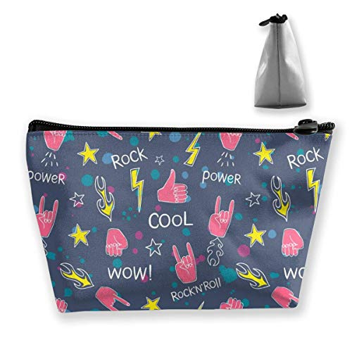 Womena € s Cosmetic Bag Hands Rock and Roll Signs Makeup Bag Portable Toiletry Pouch Storage Pouch Storage Pouch