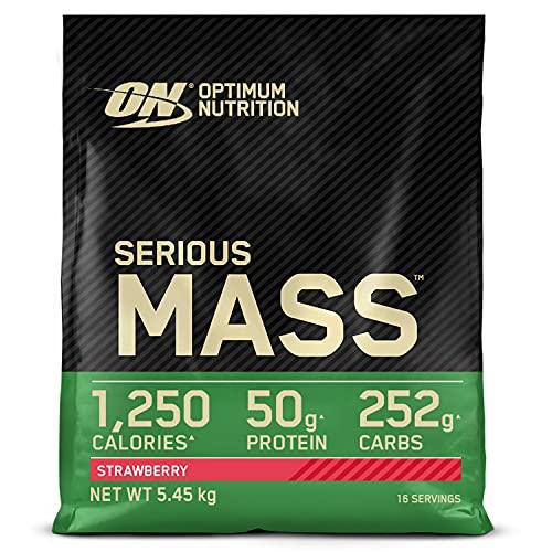 Optimum Nutrition Serious Mass Gainer, Proteine Whey in Polvere per Aumentare la Massa Muscolare con Creatina, Glutammina e Vitamine, Fragola, 16 Porzioni, 5.45 kg, il Packaging Potrebbe Variare