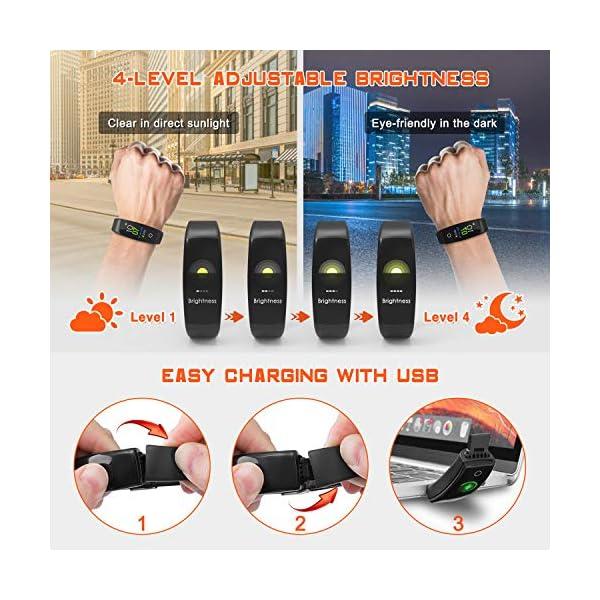 ELEGIANT Pulsera de Actividad Inteligente, Reloj Inteligente IP67 Deportivo 3D UI Hombre Mujer Niño Podómetro con GPS… 6
