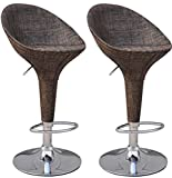 HOMCOM Barstools Counter to Bar Height Adjustable Swivel Pub Kitchen Stool Wicker Rattan Style Mesh Fabric with Metal Base,Set of 2
