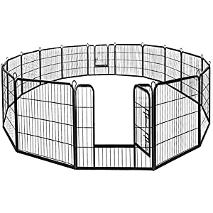 BestPet Dog Pen Extra Large Indoor Outdoor Dog Fence Playpen Heavy Duty 16/8 Panels 24 32 40 Inches Exercise Pen Dog Crate Cage Kennel (32″ W x 40″ H 16 Panles)