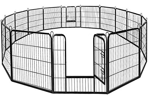 BestPet Dog Pen Extra Large Indoor Outdoor Dog Fence Playpen Heavy Duty 16/8 Panels 24 32 40 Inches Exercise Pen Dog Crate Cage Kennel (32' W x 40' H...