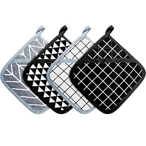 Patelai 4 Stücke Große Baumwoll Topflappen Ofenhandschuhe Set Hitzebeständige Topflappen Quadratischer Topflappen für Küche