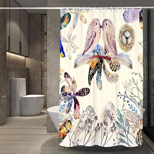 ZXPWL Badvorhang Vorhänge, Anti Bakteriell Wasserabweisend, Waschbar, Umweltfre&lich, Duschvorhang Badewannenvorhang inkl. 12 Duschvorhangringen - AI 250x180(WxH)