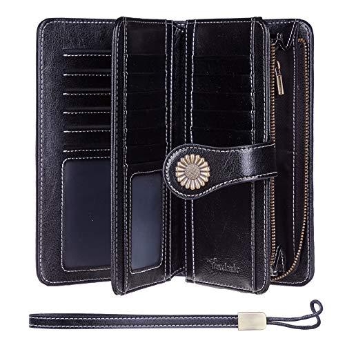 Travelambo Womens Large Capacity RFID Blocking Genuine Leather Wallets(Black)