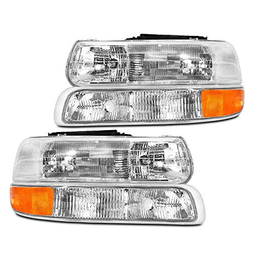 Epic Lighting OEM Style Replacement Headlight Signal Marker Light Combo Set for 1999-2006 Chevrolet Silverado Suburban Tahoe [ 4-Piece ] Driver and Passenger Sides