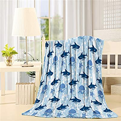 Funy Decor Flannel Fleece Blanket Marine Life Series Cute Shark Octopus and Starfish Pattern Bed Blanket Super Soft Warm Cozy for Baby/Girl/Boy/Adult/Travel