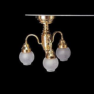 SODIAL(R) 1:12 casa de munecas de Laton Arana 3 Brazo de la lampara de Techo del LED lampara de la Pantalla de Vidrio
