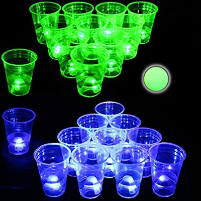Glow in The Dark Beer Pong Set-Light up Beer Pong Cups for Indoor Outdoor Nighttime Competitive Fun,22 Glowing Cups(11 Green &11 Blue), 6 Glowing Balls- Party Game from Naughtymeme