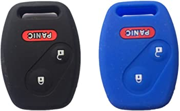 Black and Blue Silicone Rubber Keyless Entry Remote Key Fob Case Skin Cover Protector for Honda 2+1 Buttons