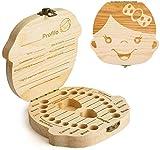 PRIMEHARUI Denti Salva Box per Bambini e Bambina (Italiano), Scatola Porta Dentini da Latte,Bambini in Legno Ricordo Regalo, Accumulazione dei Denti (Ragazza)