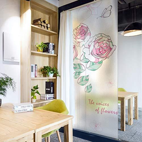 MWLSW Wandaufkleber Befleckte statisch haftende Fensterfolie mattiert undurchsichtigen Datenschutz Glas Aufkleber Home Decor Digitaldruck BLT1231 Rose Blumen