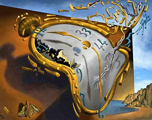 Melting clock Salvador Dali - Film Filmplakat - Beste Print Kunstdruck Qualität Wanddekoration Geschenk - A1 Gemälde (30/20 inch) - (76/51 cm) - Gestreckt, fertig zum Aufhängen