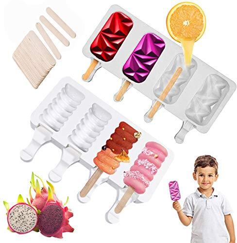 Eis am Stiel Formen Eisformen Silikon Wiederverwendbar Popsicle Set BPA-frei 2 PCS 4 Zellen für Kuchenform Dessertform DIY Frozen Dessert Kinder Erwachsene mit 50 Holzstäbchen