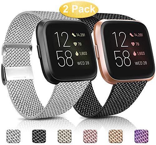 Mugust 2 Correas Compatibles con Fitbit Versa 2 Correa La Capacidad de Bloqueo Única de Correa de Metal de Acero Inoxidable es Adecuada para Hombres y Mujeres (S, Negro + Plata)