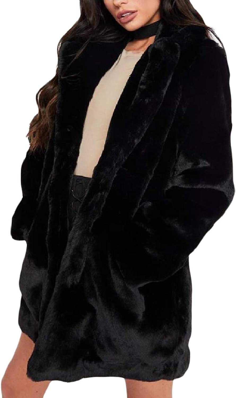 FieerWomen Shaggy Lapel Open Front Premium Fleece Plush Outwear Jacket