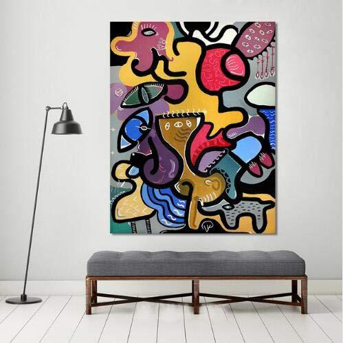 Cuadros de pared para sala de estar Arte de la lona Pintura animal abstracta Decoración del hogar Pintura de paisaje A 20x25cm