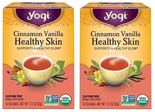 Yogi Tea - Cinnamon Vanilla Healthy Skin - Supports A Healthy Glow - 16 Tea Bags Each Box (Pack of 2)