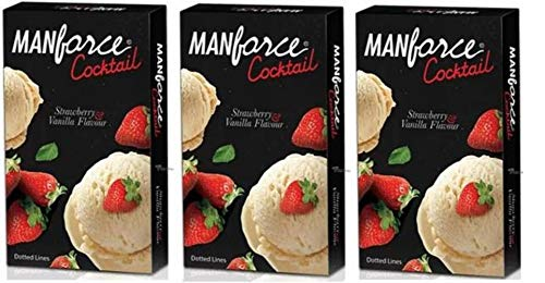 Manforce Cocktail Condom (Strawberry and Vanilla Flavoured) For Men, Set Of 3 (3 * 10) 30s