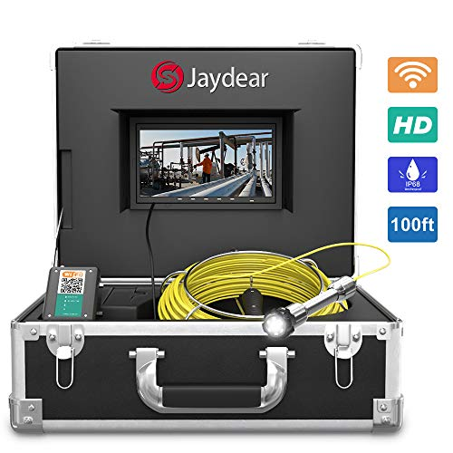 "Pipe Inspection Camera,100ft/30M Sewer Camera 7""HD Monitor Wireless..."