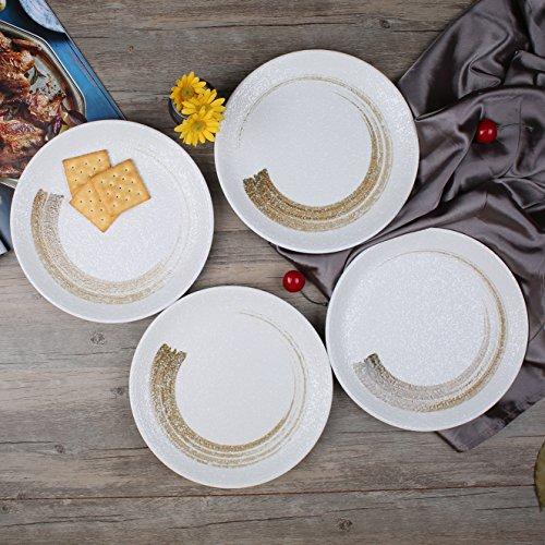 Stoneware Rustic Snowflake 9-Inch Bread/Salad/Dessert Plates, Set of 4, White