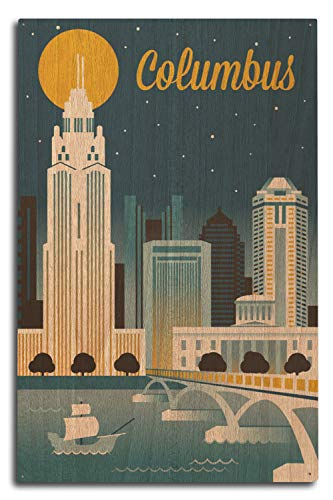 Lantern Press Columbus, Ohio - Retro Skyline Series 108601 (10x15 Wood Wall Sign, Wall Decor Ready to Hang)