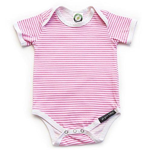Ah Goo Baby Lollipop Onesie One Piece Bodysuit, 100% Organic Cotton, Strawberry Pink
