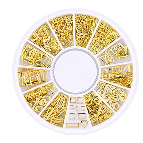 200 Count / 3D Pack Mini Nail Art Stud Stickers Glitter métal Nail Supplies charme mode Diy Beauty Nails Décorations Place Série creux