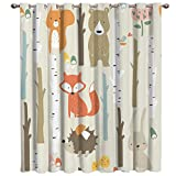 Arts Language Blackout Curtains Grommet Drapes for Boys/Girls Kids Bedroom Cartoon Bunny Bear Fox Animal Forest Printed Room Darkening Curtains Grommet for Livingroom/Office, 1 Panel 52x84in