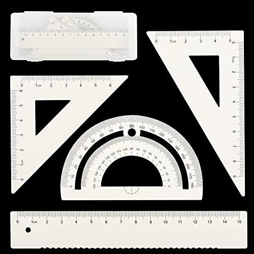 Metalica Geometría Set,4 piezas,15CM Reglas Escolares,60° Escuadra y Cartabon,45° Escuadra y Cartabon,180° Transportador de Angulos, Herramienta de Geometría Matemática (Blanco)