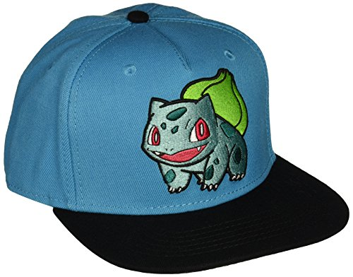 BIOWORLD Pokemon Bulbasaur Embroidered Snapback Cap Hat, Blue - http://coolthings.us