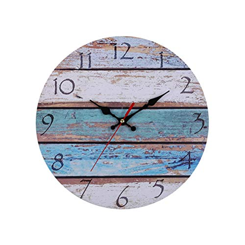 VOSAREA Reloj de pared redondo de madera, estilo marítimo, vintage, reloj de pared para casa, dormitorio, decoración, sin batería, color azul claro